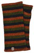 Fleece lined wristwarmer - stripe - Green/brown/black