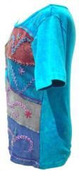 Embroidered Patchwork T-Shirt Turquoise