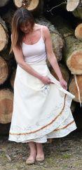 Aari Embroidered Wrapover Skirt Natural White