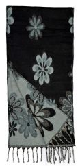 Wool mix narrow scarf floral black