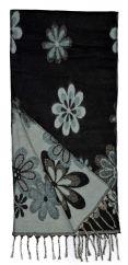 Wool mix narrow scarf floral black