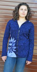 Batik flower hooded jacket blue