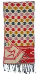 Wool mix narrow scarf ovals cream/pinks