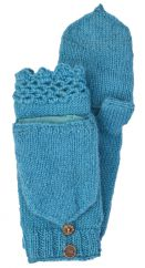 NAYA hand knit fold over wristwarmers mosaic blue