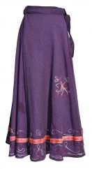 Aari Embroidered Wrapover Skirt Purple