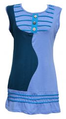 Toning colours soft cotton buttoned wave tunic teal/blue
