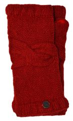 NAYA pure wool cable twist wristwarmer deep red