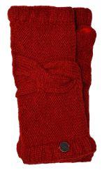 NAYA pure wool cable twist wristwarmer deep red