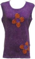 Double Flower Vest Top Purple