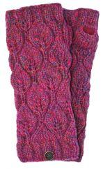 Fleece lined leaf pattern  wristwarmers  pink heather