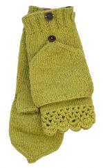 NAYA hand knit fold over wristwarmers meadow green