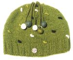 Half fleece lined - pure wool - french knot - beanie - Moss Green