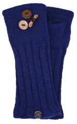 Fleece lined wristwarmer fruit button Dark blue