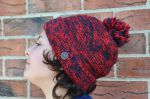 Two tone - turn up - bobble hat - red/smoke
