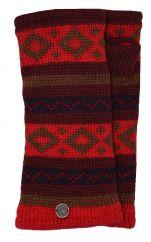 Fleece lined wristwarmer diamond pattern red