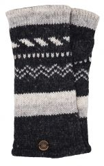 Fleece lined wristwarmer zigzag Charcoal