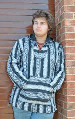 Open weave gheri cotton pullover black/white