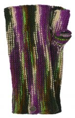NAYA pure wool kaleidoscope wristwarmers purple/green