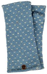 Fleece lined wristwarmer tick Winter blue/white