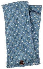 Fleece lined wristwarmer tick Winter blue/white