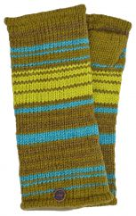 Fully lined narrow stripe wristwarmers greens