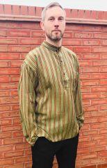 Light weight Striped Cotton Shirt Greens/Red