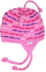 Hand knit half fleece lined soft wool ear flap hat  Pink/Purple