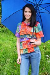 Overlocked Embroidered Patchwork T-shirt