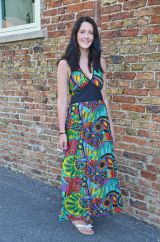 Tropical Print Halter Neck Long Dress Green