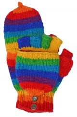 Fleece lined mitt Stripes Rainbow