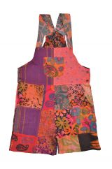 Summer patchwork dungarees soft coral