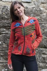 'Cut' and Appliqué Flower Hooded Jacket Red