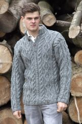 Pure wool hand knit jumper cable Grey