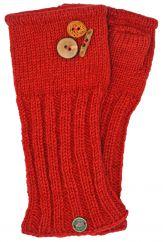 Fleece lined wristwarmer fruit button Red
