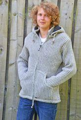 Fleece lined detachable hood jacket ribbed Mid grey