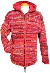 Fleece lined hooded jacket electric Red