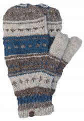 NAYA hand knit pattern mittens teal/browns
