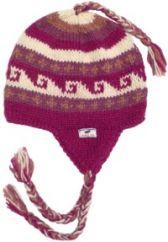 Pure wool half fleece lined wave pattern ear flap hat Berry