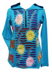 Flower And Butterfly Hooded Pull On Blue