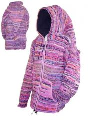 Fleece lined pixie hooded jacket electric Pink