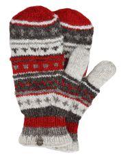NAYA hand knit pattern mittens red/browns