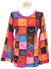 Hand embroidered patchwork multicoloured spice  top