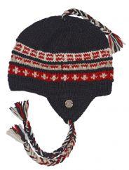 Pure wool half fleece lined pattern ear flap hat Brown