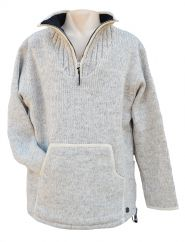 Fleece lined pure wool pull on Light Grey