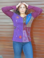 Applique & embroidery stonewashed top multi purples