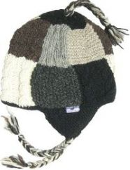 Hand knit half fleece lined patchwork ear flap hat Grey/Natural
