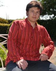 Light weight Striped Cotton Shirt Red