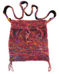 Hand crocheted recycled silk shoulder bag