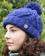 Half fleece lined hand knit celtic bobble hat Dark blue