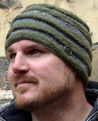 Hand knit NAYA -tubes beanie grey/green